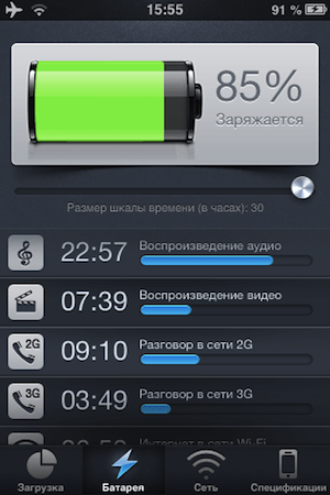 вкладка — «Батарея»