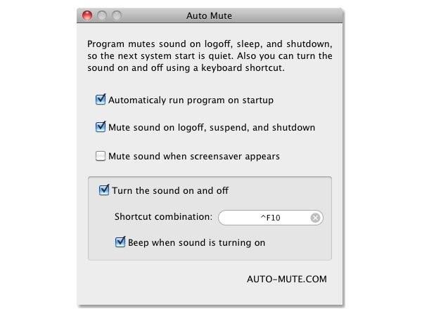 отключить звук при включении Mac